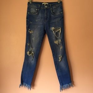 Zara Jeans - Zara Distressed Medium Blue Skinny Jeans